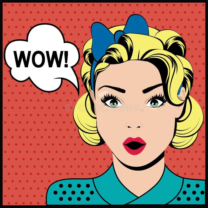 Femme étonnée d'art de bruit de wow illustration de vecteur