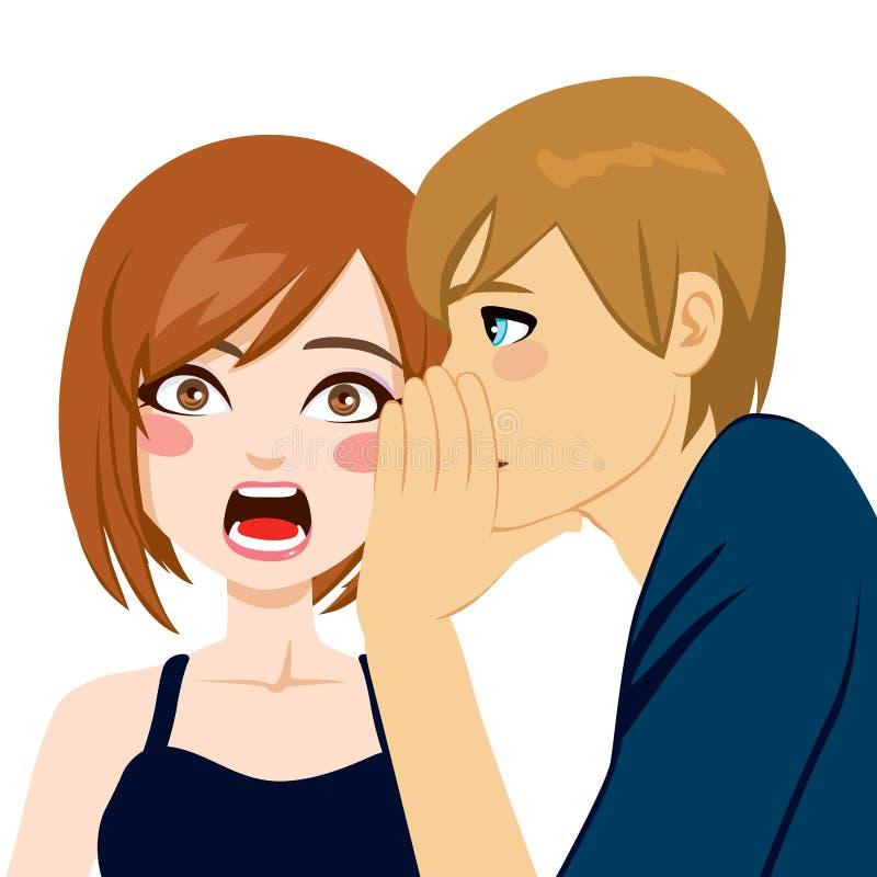 Femme étonnée par bavardage secret illustration libre de droits