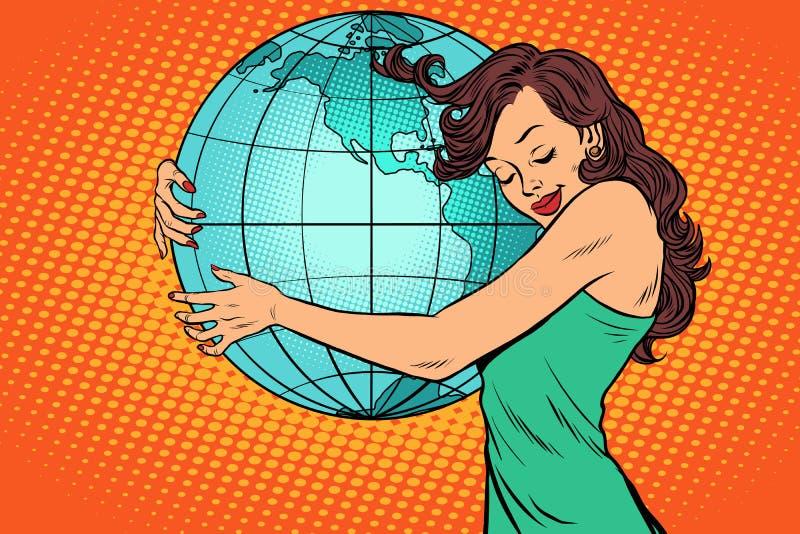 Femme étreignant le continent Amérique de la terre illustration stock