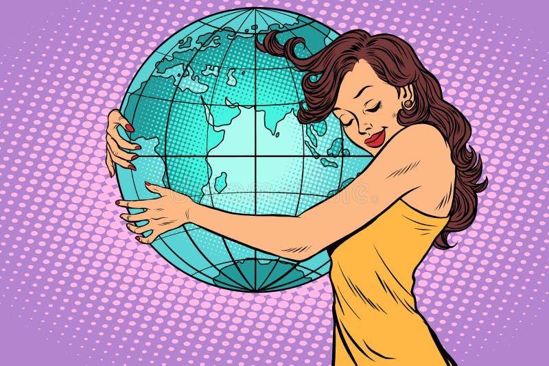 Femme étreignant le continent de la terre de l'Afrique et de l'Eurasie illustration libre de droits