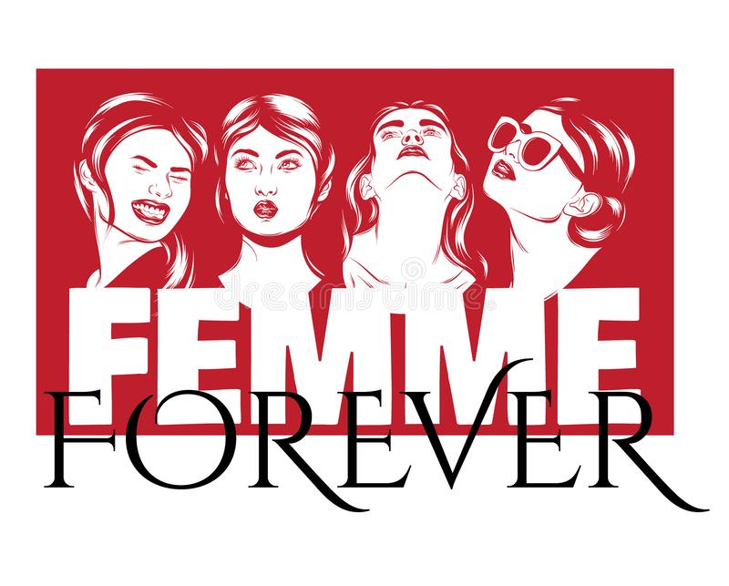 Femme για πάντα Διανυσματική αφίσα με συρμένη τη χέρι απεικόνιση των συναισθηματικών γυναικών απεικόνιση αποθεμάτων