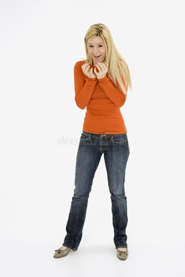 Download Femme image stock. Image du femelle, geste, blanc, heureux - 2125787