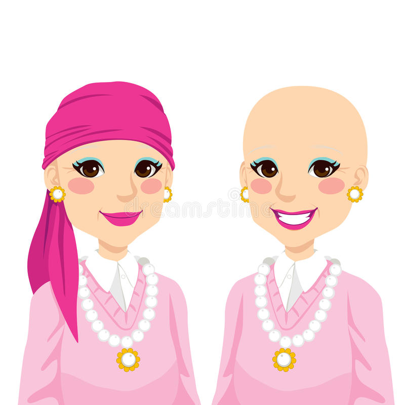 Femme aîné avec le Cancer illustration libre de droits