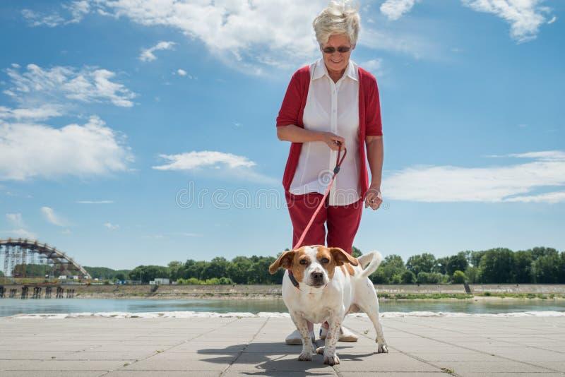 Femme aîné et son crabot images stock