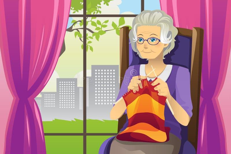 Femme aînée de tricotage illustration de vecteur