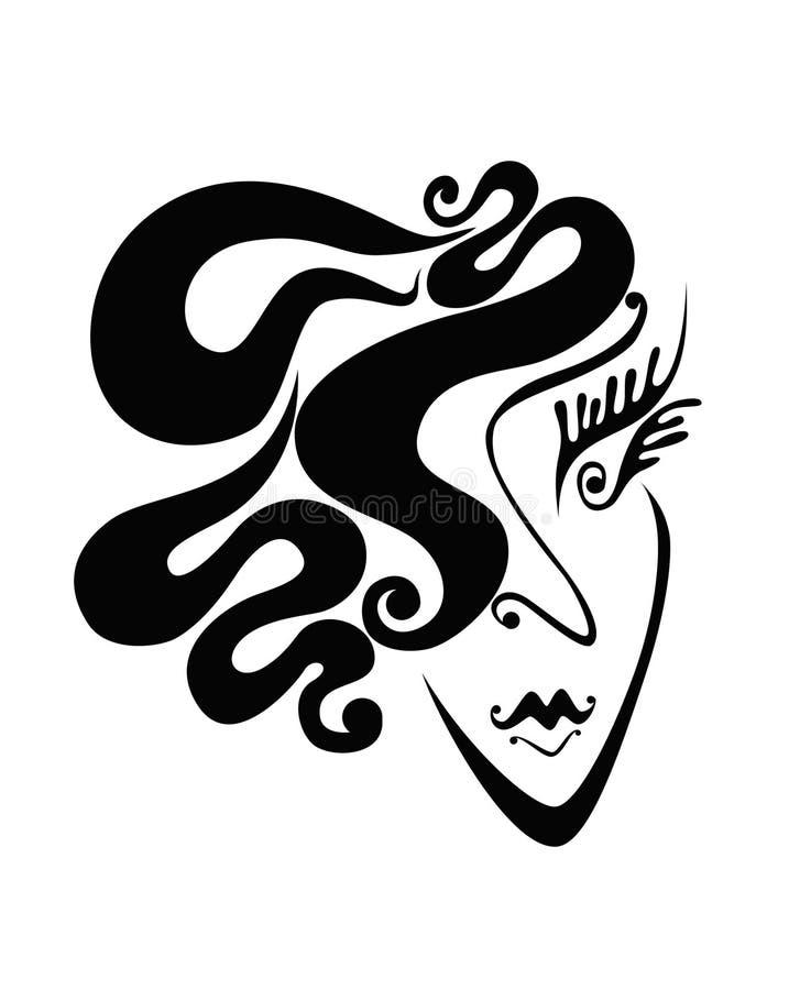 femme abstrait de remous de cheveu de visage illustration libre de droits