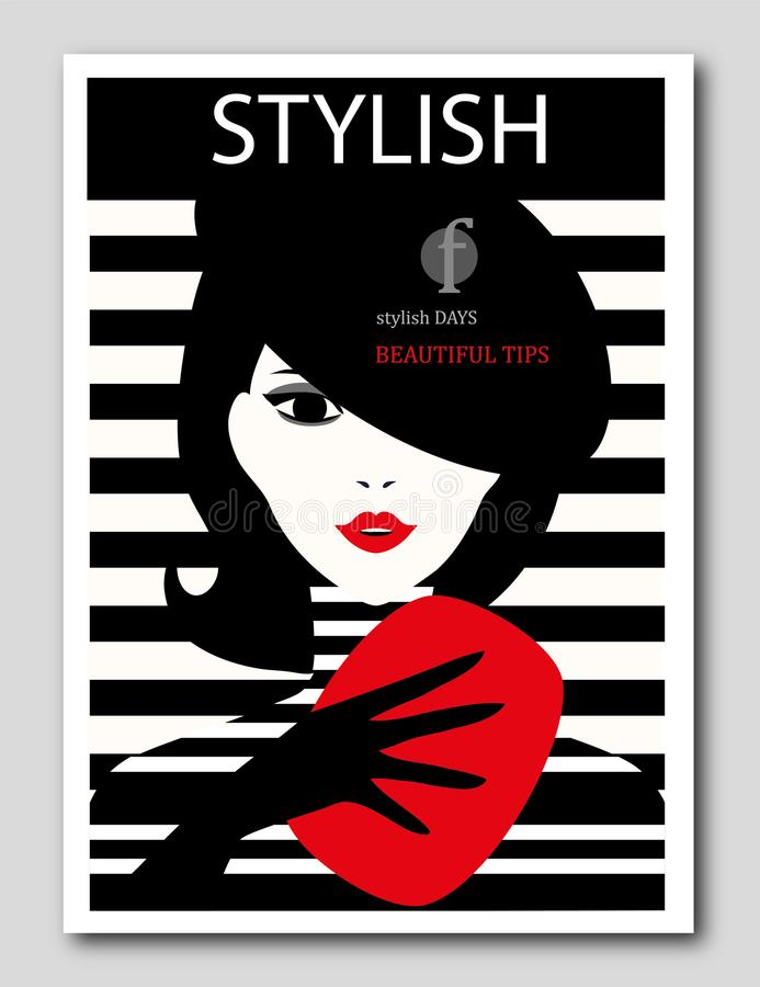 Femme abstraite avec le béret et l'embrayage rouge sur le fond rayé Conception de couverture de revue de mode illustration stock