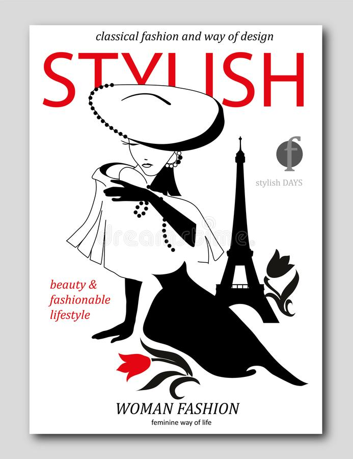 Femme abstraite avec le grand chapeau avec la fleur à Paris Conception de couverture de revue de mode illustration de vecteur
