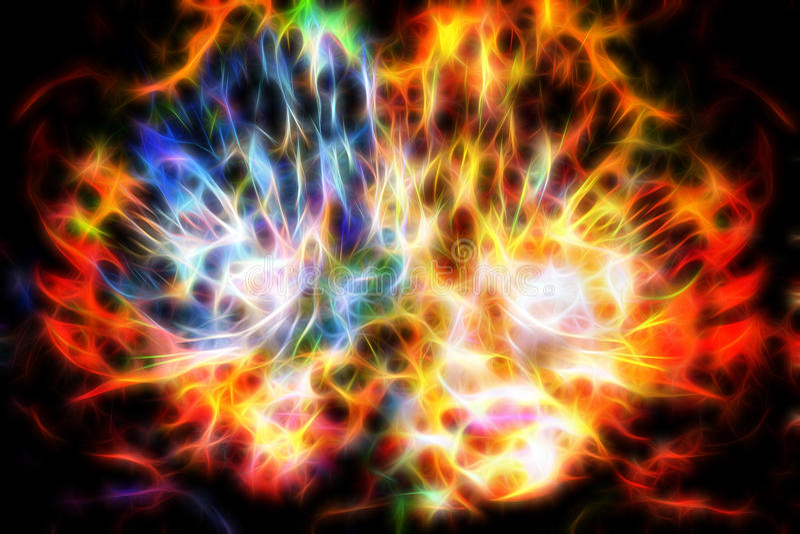 Femme abstraite avec le masque de plume Femme de déesse dans l'espace cosmique effet de fractale illustration stock