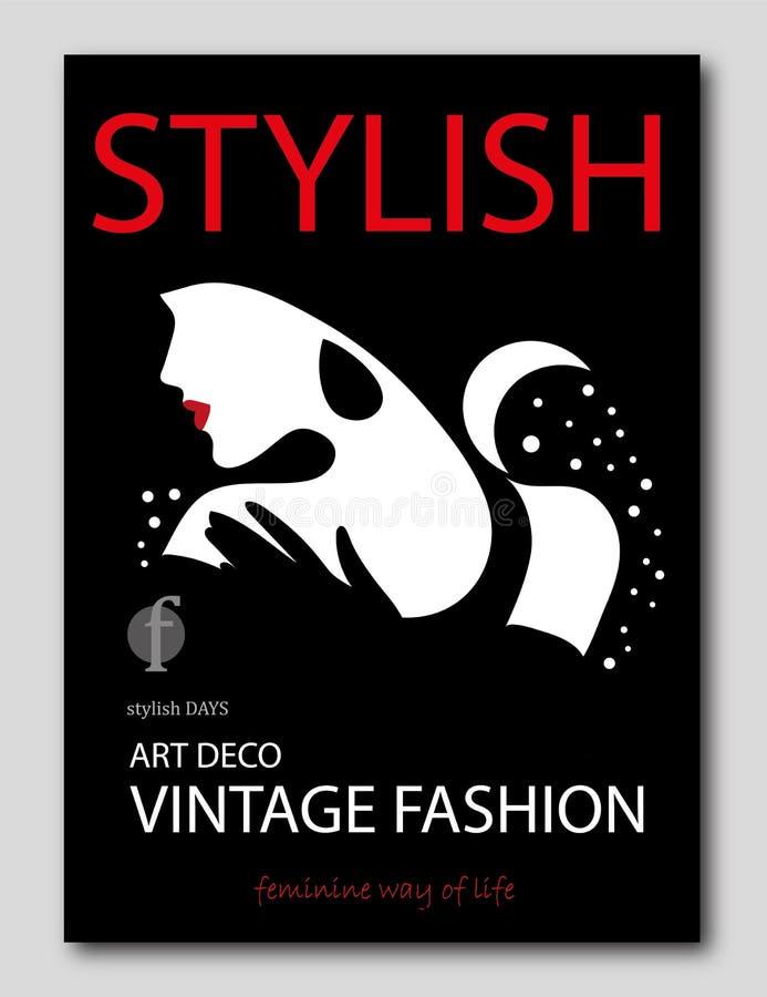 Femme abstraite avec avec le style d'Art Deco de fleurs Conception de couverture de revue de mode illustration libre de droits