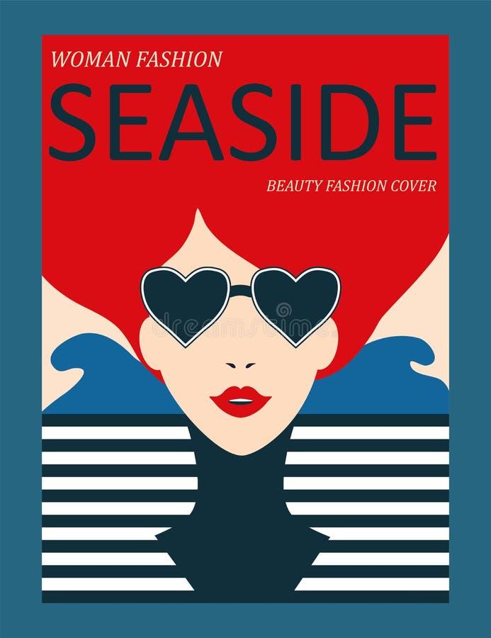 Femme abstraite avec les cheveux rouges et la robe barrée sur le fond de mer Conception de couverture de revue de mode illustration libre de droits