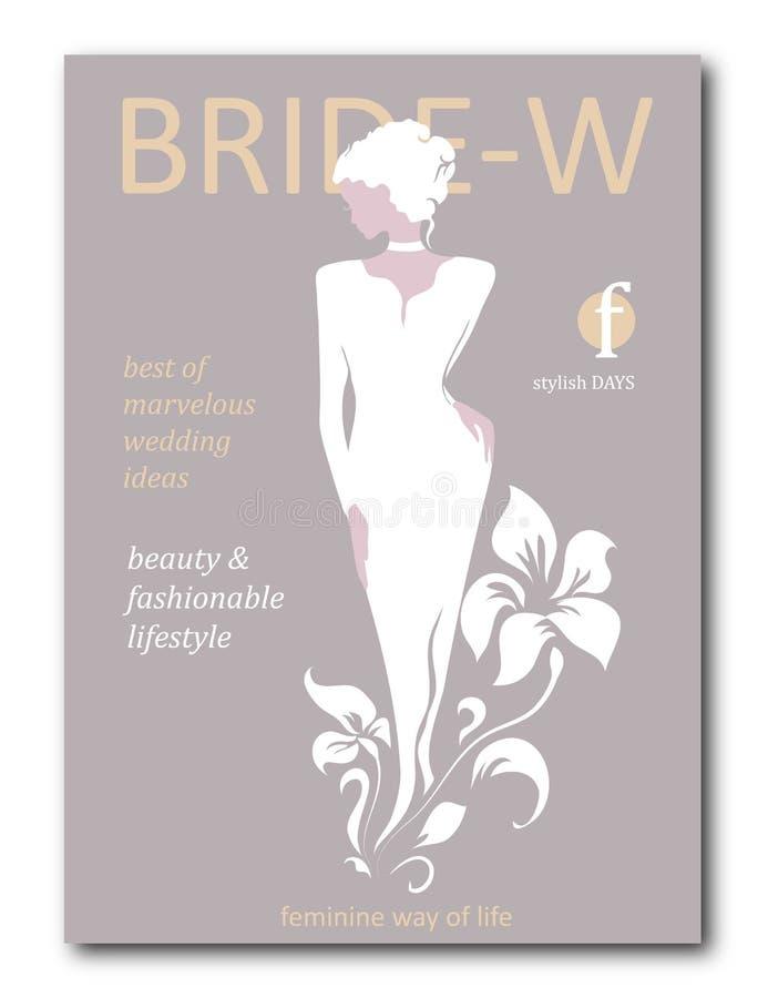 Femme abstraite de jeune mariée avec floral avec la silhouette Conception de couverture de revue de mode pour la saison de vacanc illustration stock