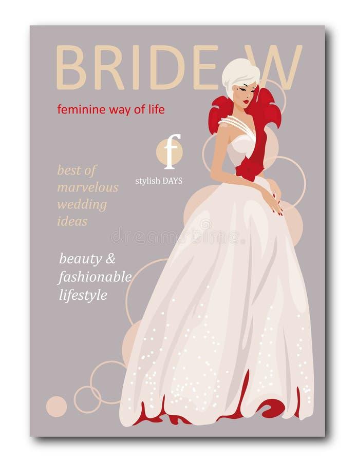 Femme abstraite de jeune mariée avec floral avec la silhouette Conception de couverture de revue de mode pour la saison de vacanc illustration de vecteur