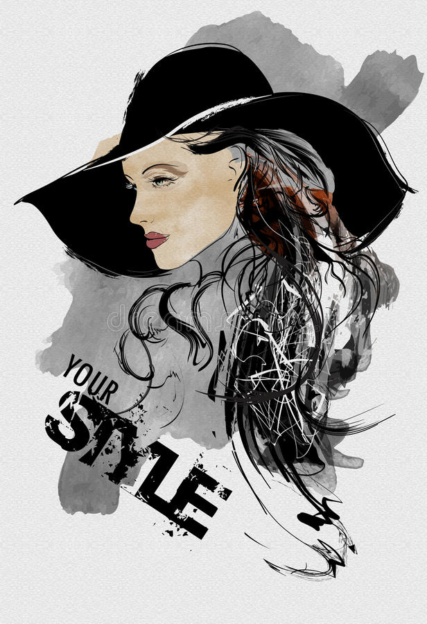 Femme abstraite de mode Modèle avec un chapeau noir illustration libre de droits