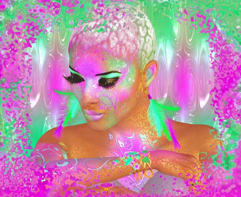 Femme abstraite et belle colorée de mode, maquillage, longs cils avec la coiffure courte et pai de corps images stock