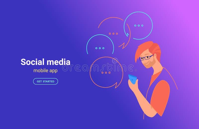 Femme adolescente employant l'illustration mobile de vecteur de concept d'appli Jeune adolescent avec le smartphone utilisant l'a illustration stock