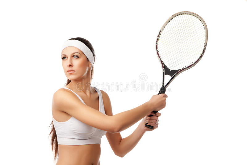 Femme adulte jouant le tennis photos stock