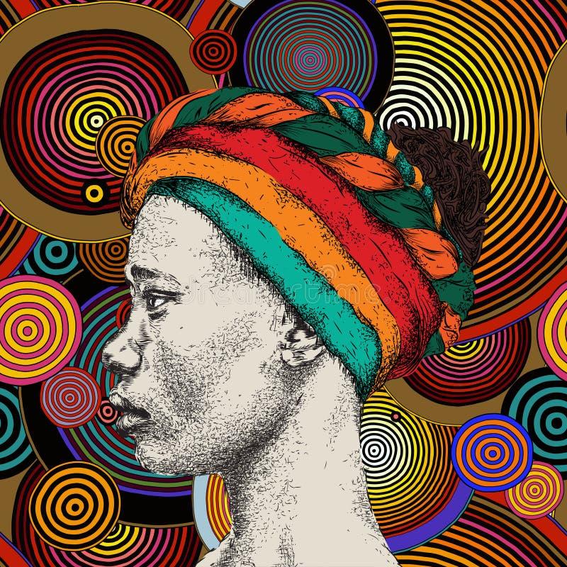 Femme africaine avec l'Africain dans le turban, fond tribal Belle femme de couleur Illustration de vecteur photos stock