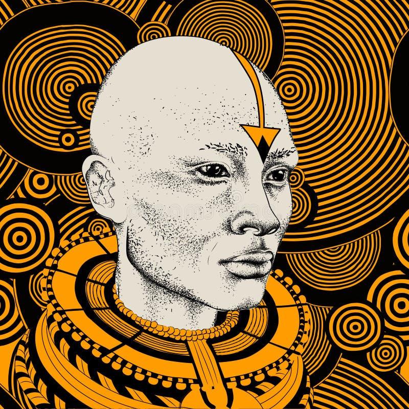 Femme africaine avec l'Africain dans le turban, fond tribal Belle femme de couleur Illustration de vecteur image stock