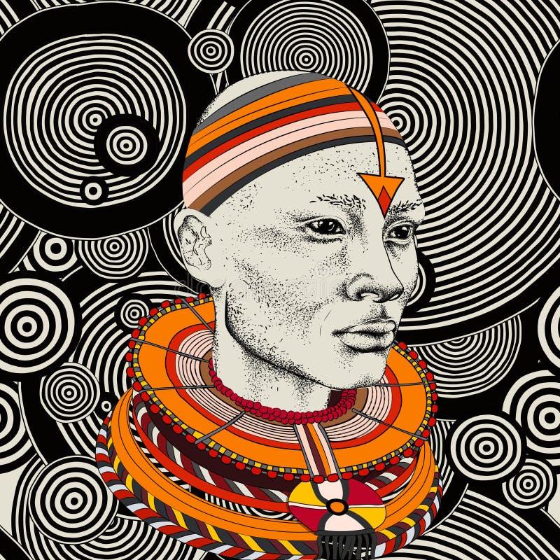 Femme africaine avec l'Africain dans le turban, fond tribal Belle femme de couleur Illustration de vecteur photos libres de droits
