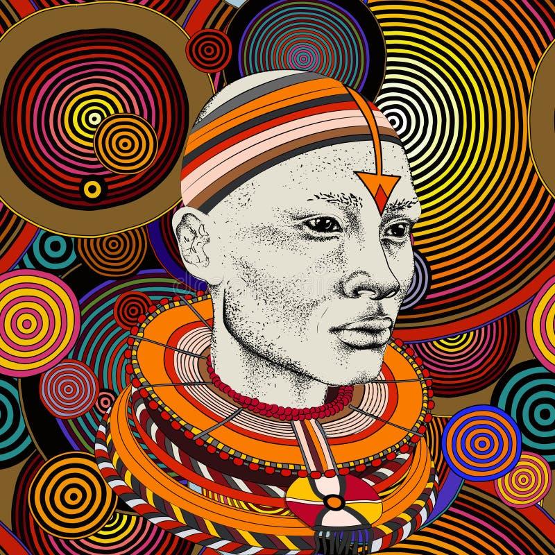 Femme africaine avec l'Africain dans le turban, fond tribal Belle femme de couleur Illustration de vecteur photo libre de droits