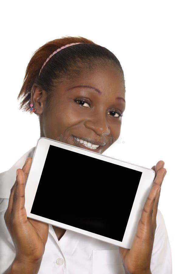 femme africaine d u0026 39 affaires avec la tablette  l u0026 39 espace d u0026 39 exemplaire gratuit image stock