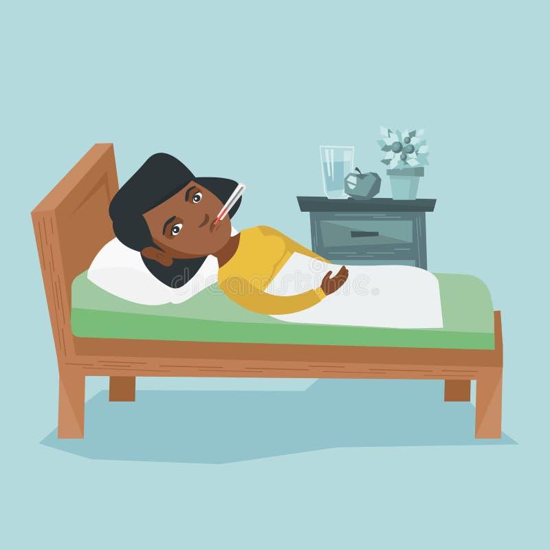 Femme africaine malade avec le thermomètre s'étendant dans le lit illustration libre de droits