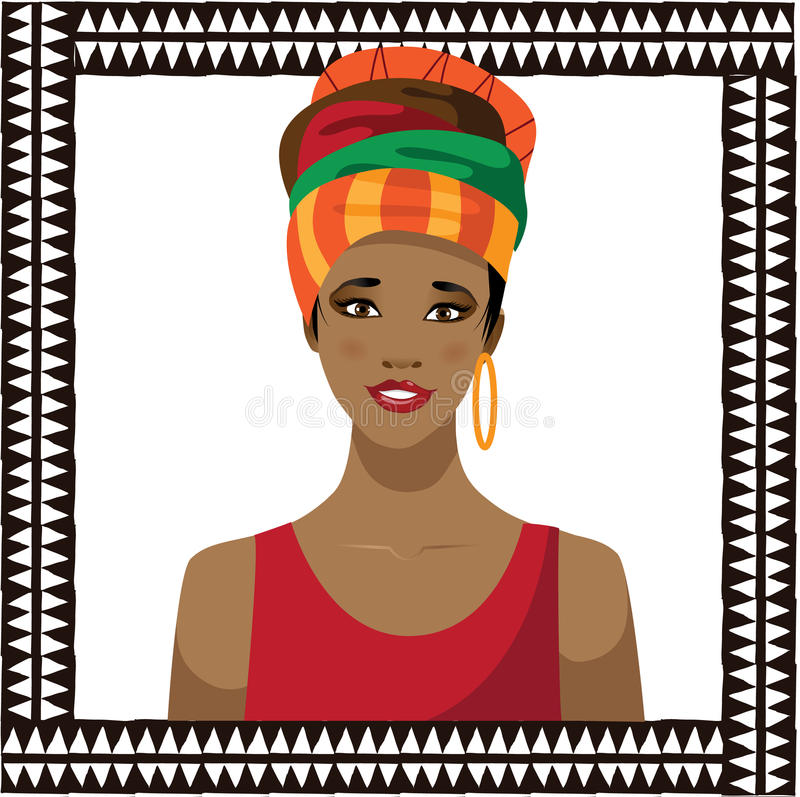 Femme africaine portant un foulard illustration de vecteur