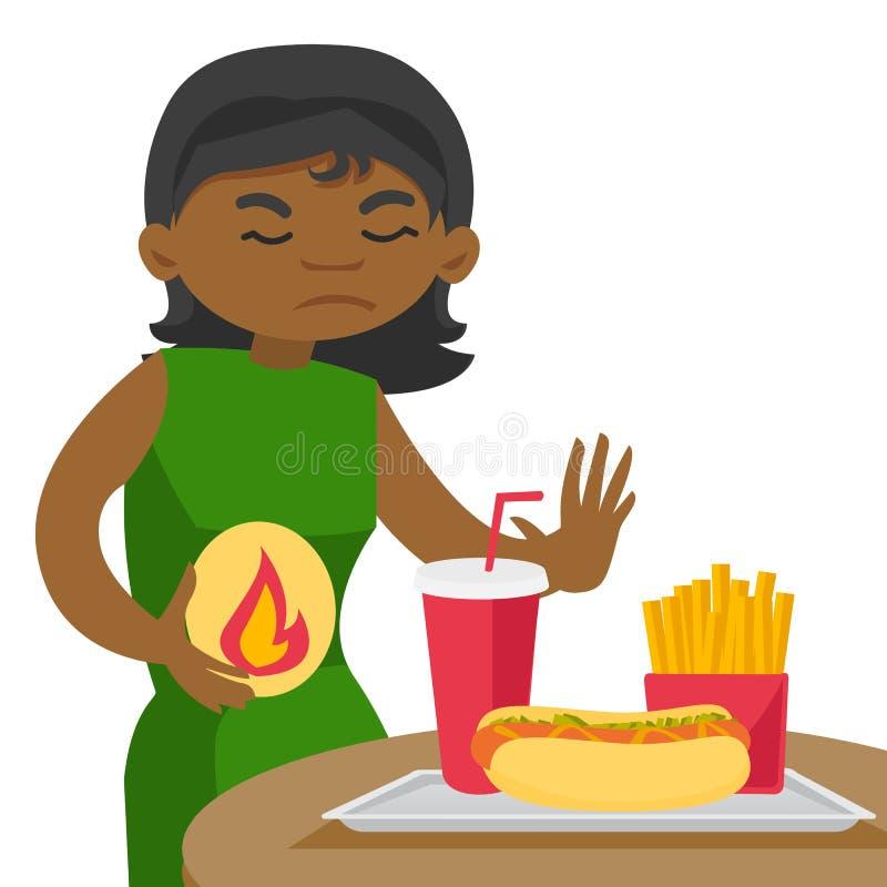 Femme africaine triste souffrant de la brûlure d'estomac illustration libre de droits