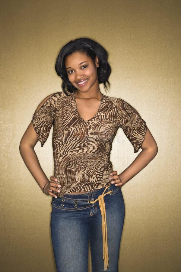 Femme afro-américaine de sourire. images libres de droits