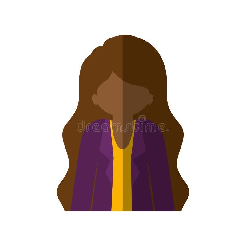Femme Afro de demi corps avec la veste et la longue ombre de cheveu et moyenne illustration de vecteur