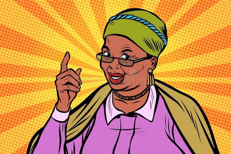 Femme agée africaine dirigeant le doigt  illustration stock
