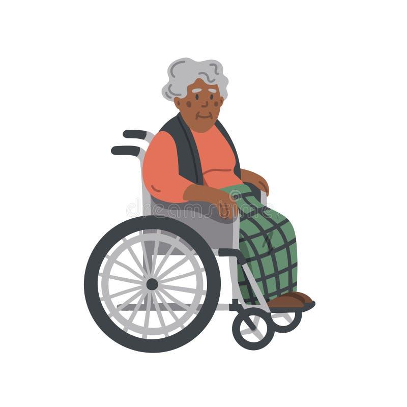 Femme ag?e am?ricaine d'Afran dans un fauteuil roulant Grand-m?re s'asseyant sur le fauteuil roulant sur le fond blanc Maison de  illustration stock