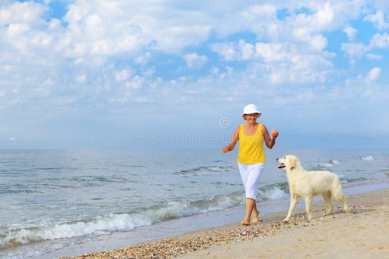 Femme agée courant avec son chien d'arrêt de golder images stock