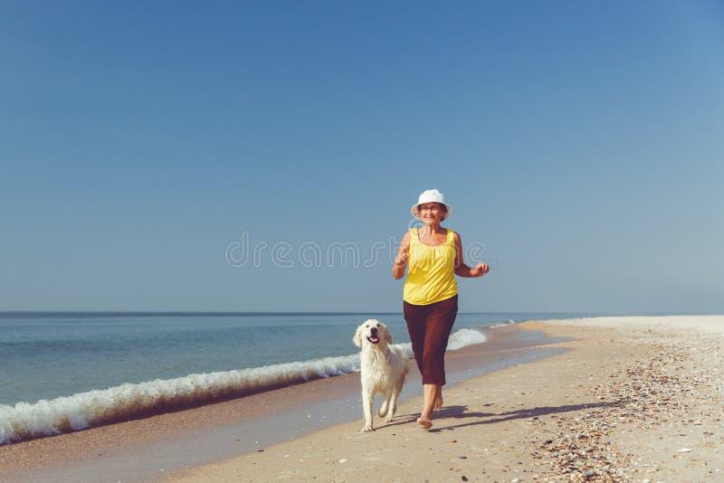 Femme agée courant avec son chien d'arrêt de golder photo libre de droits
