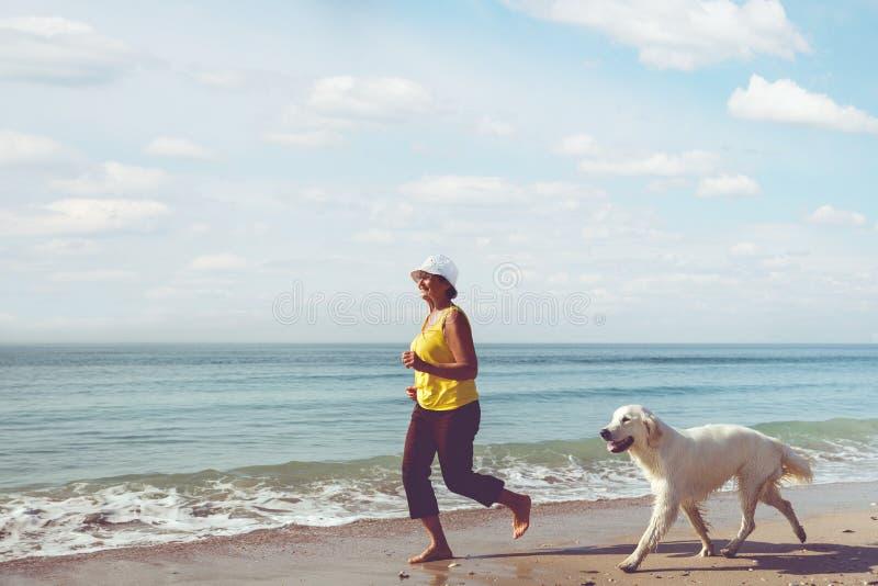 Femme agée courant avec son chien d'arrêt de golder images libres de droits