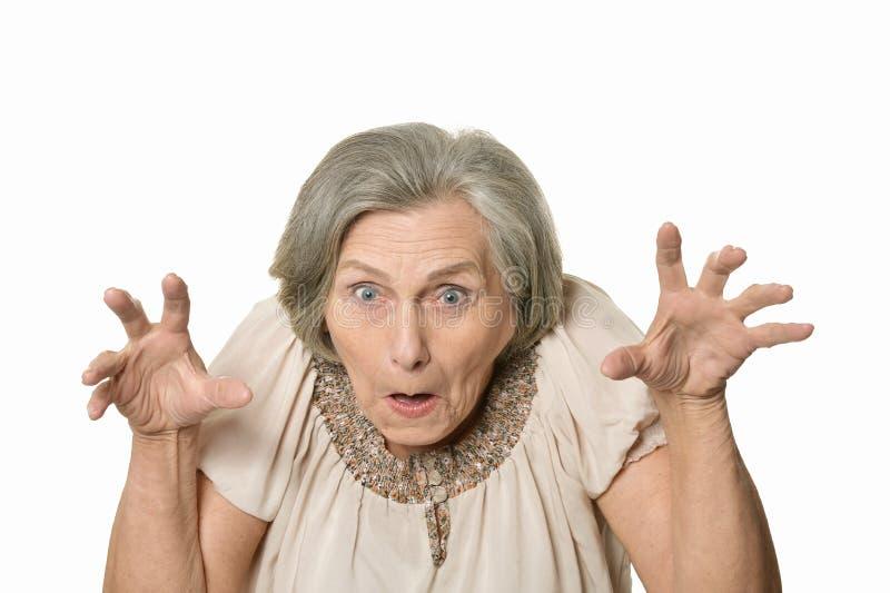 Femme agée fâchée photographie stock libre de droits