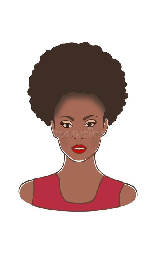Femme américaine de bel africain noir jolie dans l'illustration rouge de vecteur de mode de robe illustration libre de droits