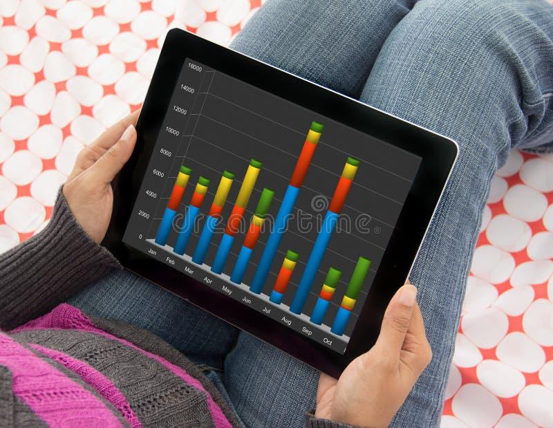 Femme analysant des données financières et des diagrammes sur une tablette photo stock