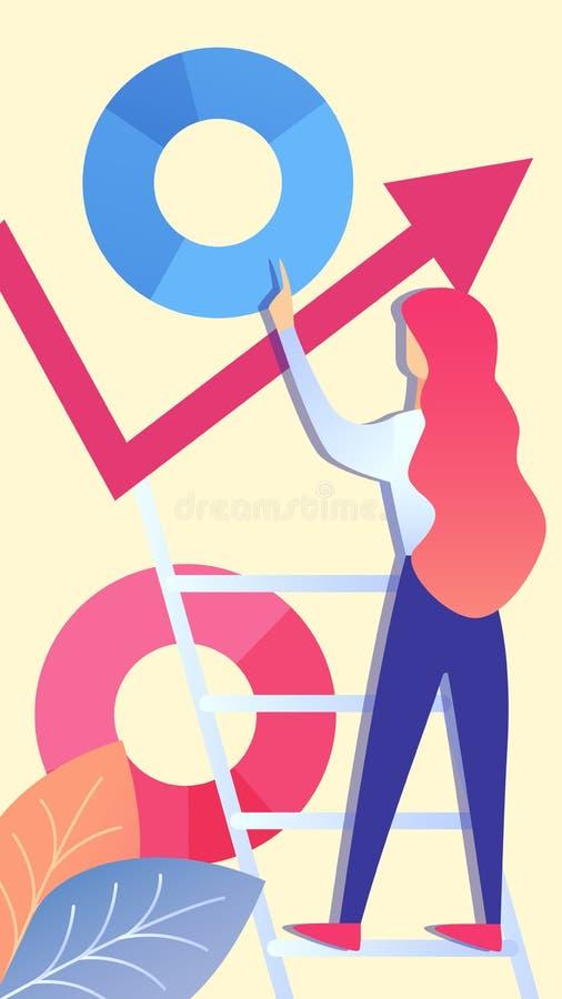Femme analysant l'illustration d'entreprise de vecteur de donn?es illustration de vecteur