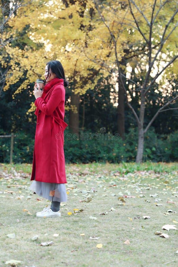 Femme anonyme appréciant la tasse de café à emporter le jour froid ensoleillé d'automne images libres de droits