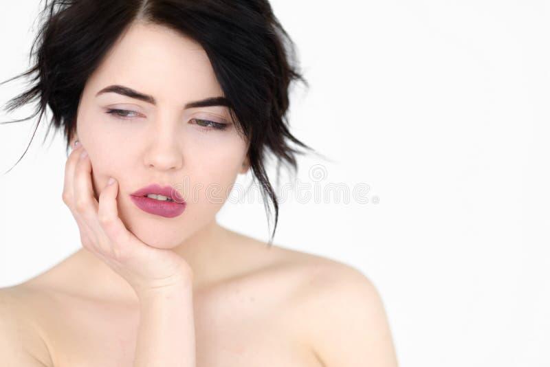 Femme apathique ennuyée par visage d'émotion alimentée photo stock