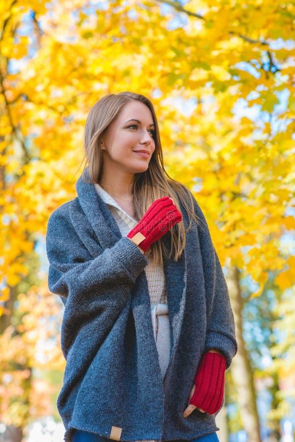 Download Femme Appréciant Le Feuillage D'automne Jaune Coloré Image stock - Image du ensoleillé, extérieur: 45355561