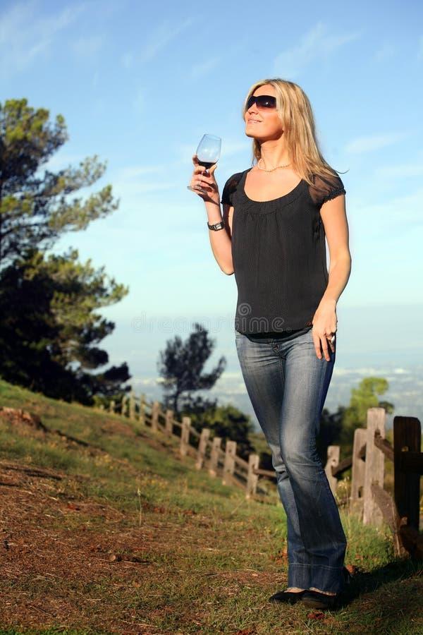 Femme appréciant le vin photographie stock libre de droits