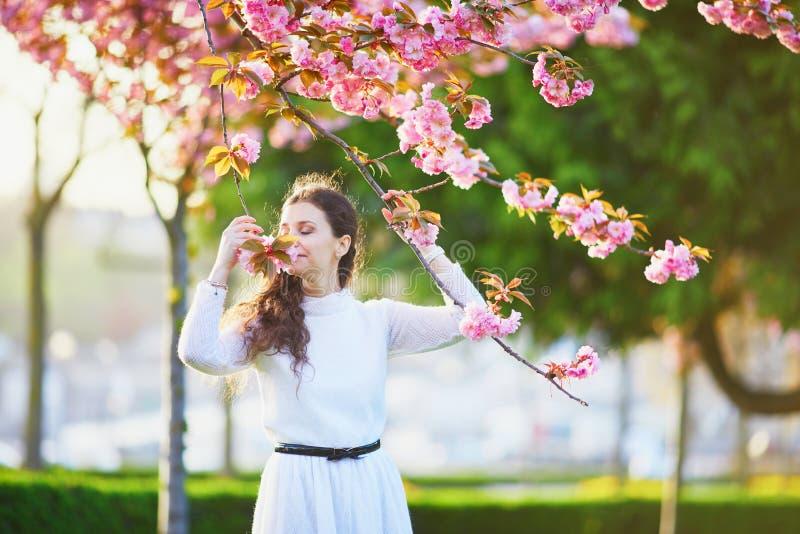 Femme appr?ciant la saison de fleurs de cerisier ? Paris, France photographie stock libre de droits
