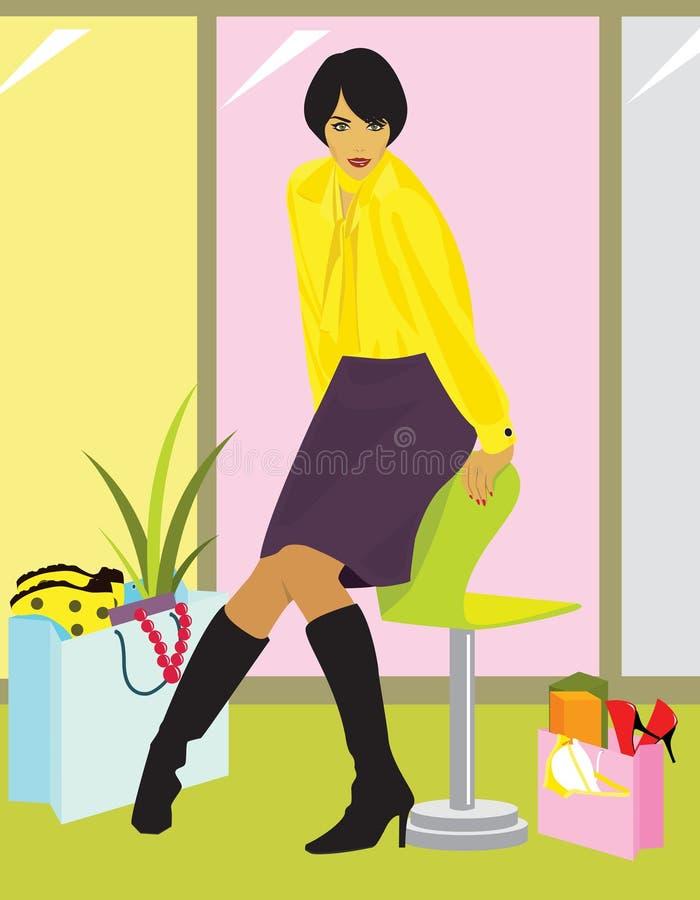 Femme Après L Achat Image stock