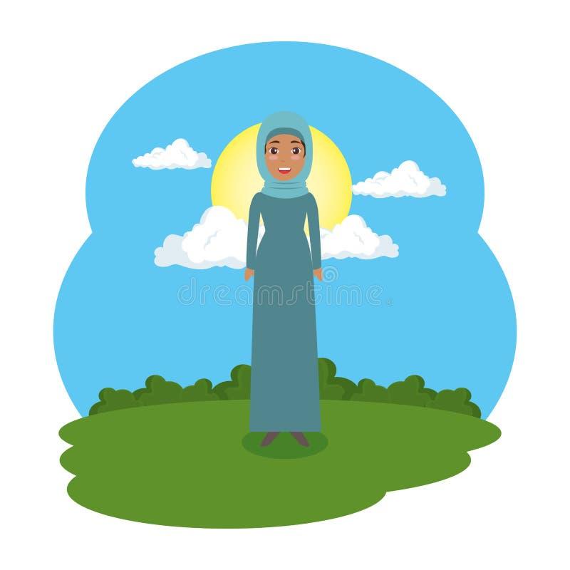 Femme arabe dans le camp illustration libre de droits