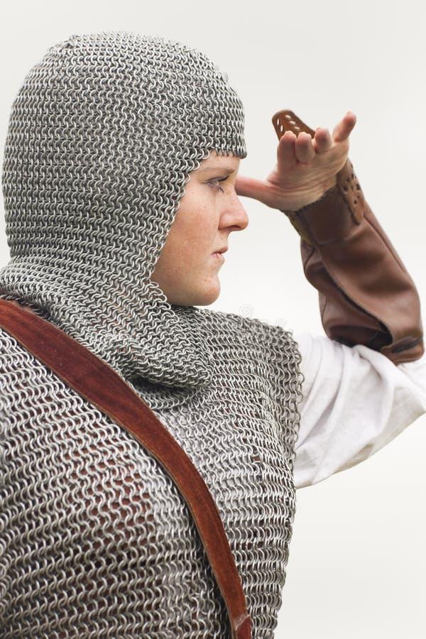 Femme/armure médiévale/rétro fractionnement modifié la tonalité photographie stock libre de droits