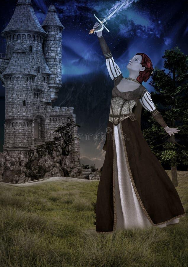 Femme arthurian d'imagination avec une épée magique illustration libre de droits