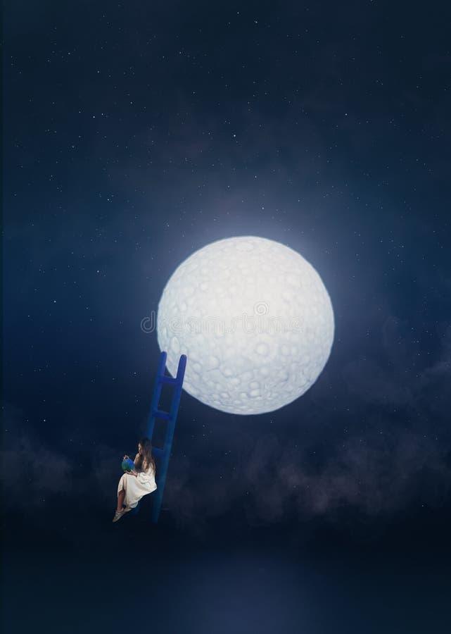 Femme artistique de concept reposant sur des escaliers sous la peinture de lune sa propre terre photo stock